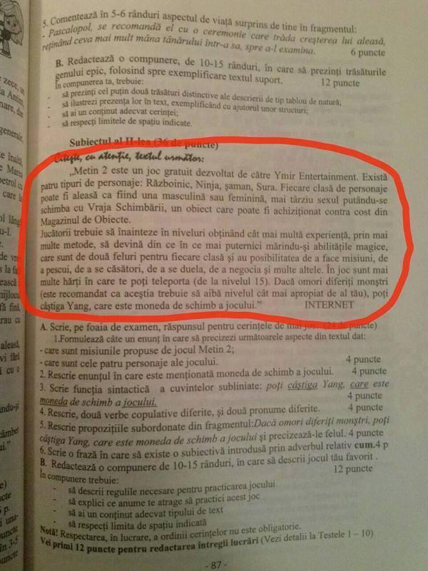 Subiect la examen